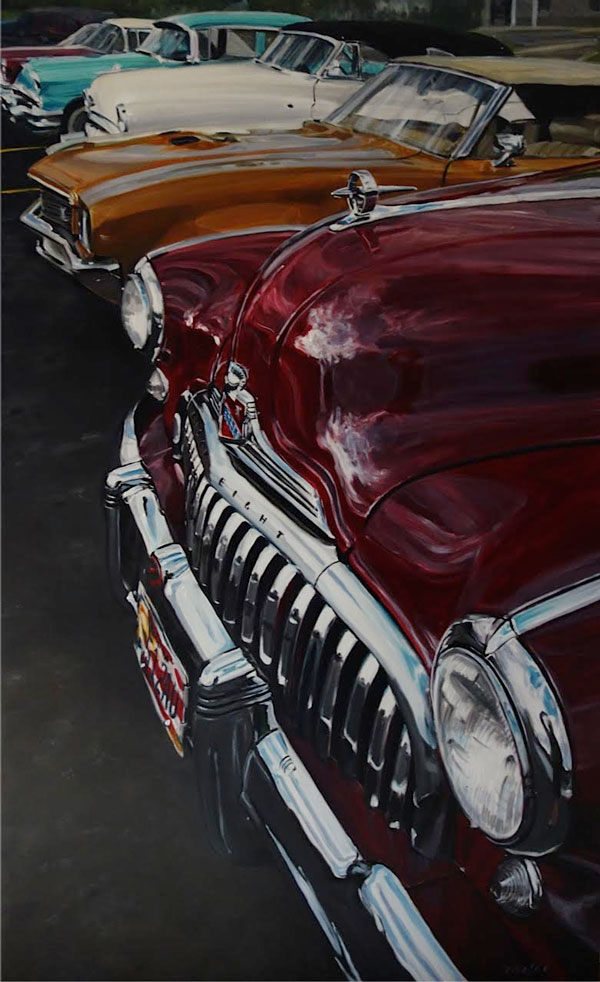 1948 Buick classic car oil paintings on canvas by Raelee Edgar