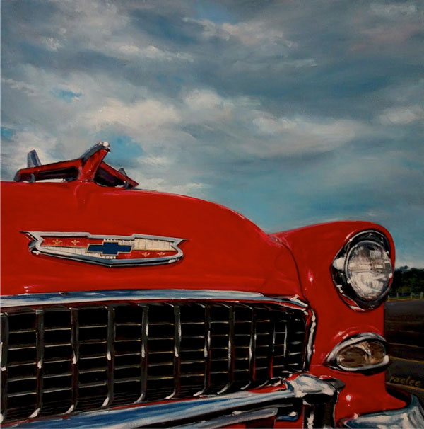 1955 Chevy classic car oil paintings on canvas by Raelee Edgar