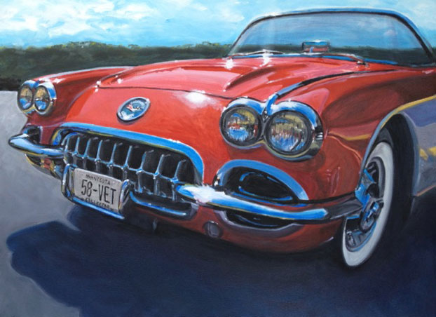 1958 red Corvette convertible by Raelee Edgar
