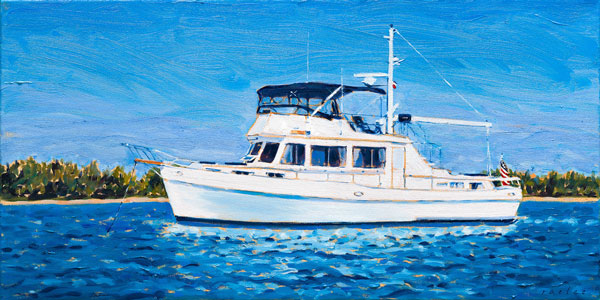 Bali H'ai yacht original oil painting by Raelee Edgar