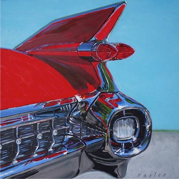 Caddy Fin classic car paintings by Raelee Edgar