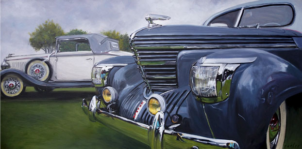 Graham car oil painting