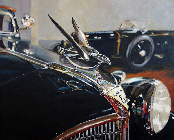 Hudson 8 paintings of classic cars by Raelee Edgar