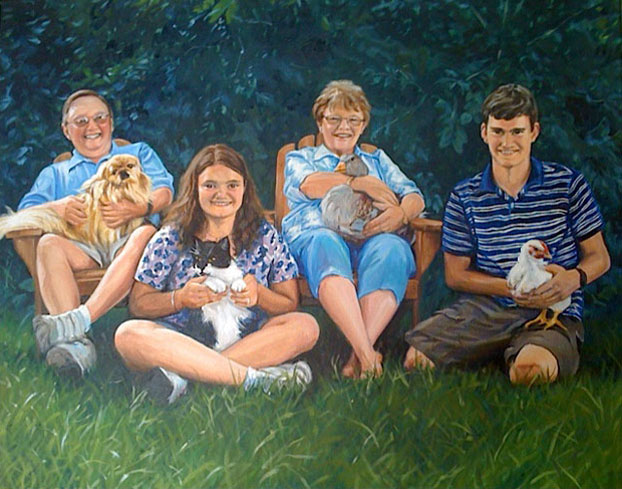 family and pet portraits by Raelee Edgar oil paintings