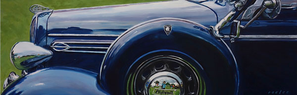 Plymouth classic car original oil painting by Raelee Edgar