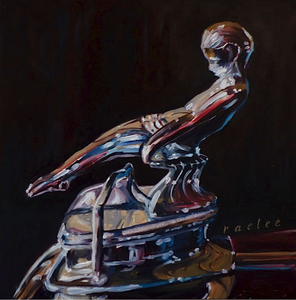 classic car hood ornament original oil painting by Raelee Edgar