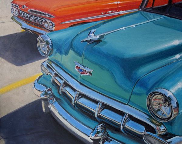 Turquiose Chevy original oil painting on canvas  by Raelee edgar