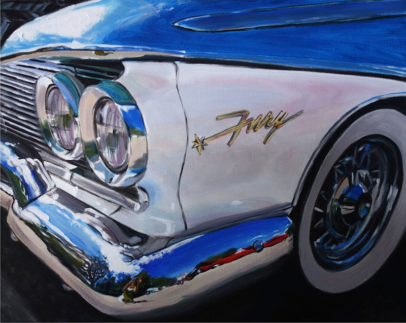 Fury Classic Car oil paintings by Raelee Edgar