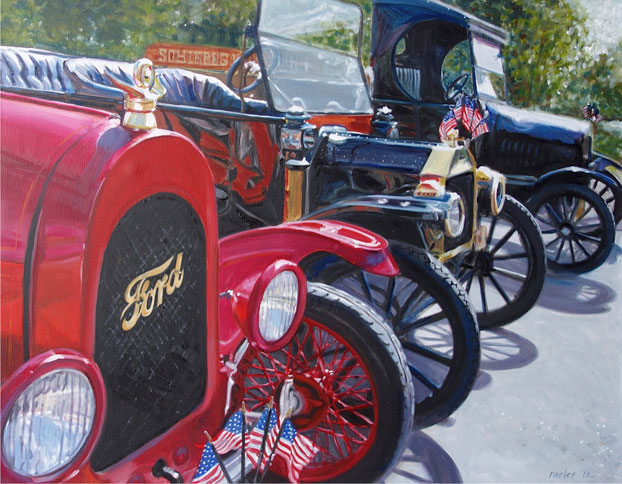 Old Fords, oil painting of classic cars by Raelee Edgar