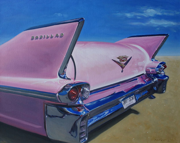 Pink Cadillac oil paintings of classic cars by Raelee Edgar