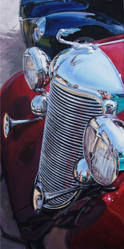 Oil painting of a Red Buick classic car by Raelee Edgar